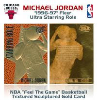 1996 NBA Michael Jordan Fleer Ultra Feel El Juego 23k Oro Insertar Tarjeta - $13.44