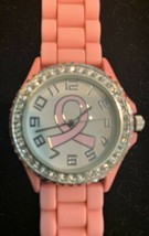 New ladies' Geneva Rhinestone silicone pink strap breast cancer wristwatch - $19.80