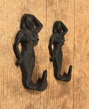 "Cast Iron Mermaid Wall Hook 5 3/4"" tall (Set of... - $18.75"