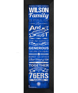 "Personalized Philadelphia 76ers ""Family Cheer"" 24 x 8 Framed Print - $39.95"