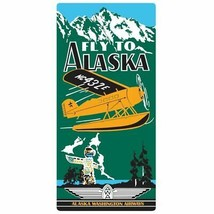 """""""Fly to Alaska"""" Embossed Metal Sign, Float Plane, Fly- In Aviation  AR-2... - $25.74"""