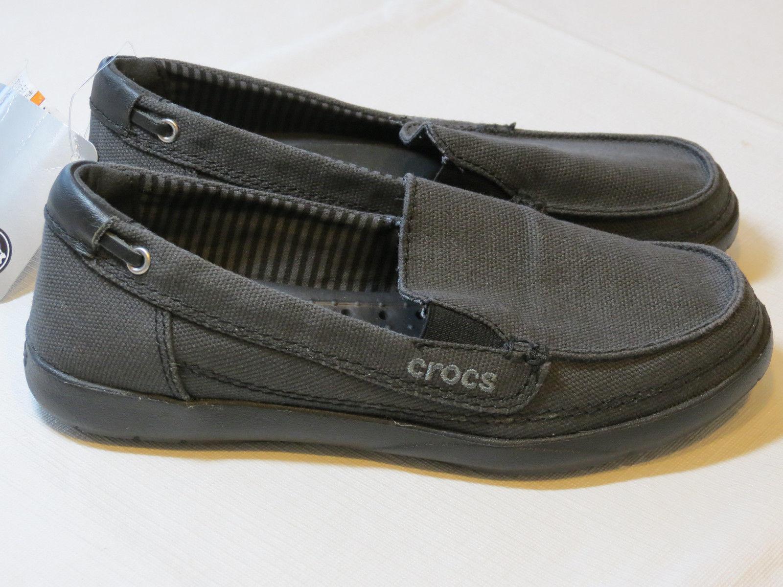 Womens crocs standard fit Walu canvas loafer slide shoe W 6 W6 boat black - $59.39