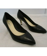 "CHANEL Black Leather Pointy Cap Toe Pumps w/ Gold ""CC"" & Pearl on Heel  ... - $429.99"