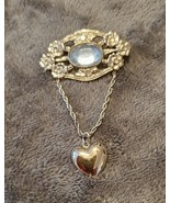 VINTAGE 80'S SILVER AND LIGHT BLUE FAUX RHINESTONE BROOCH WITH DANGLE HEART - $20.00
