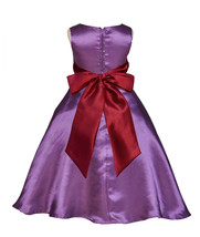 Purple A-Line Satin Flower Girl Dress Pageant Wedding Bride Recital Todd... - $38.99