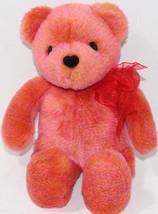 Avon ROSE ORANGE TALKING TEDDY BEAR With SHEER BOW Stuffed Plush Animal ... - $11.87