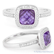1.56ct Checkerboard Amethyst Round Cut Diamond Pave Halo Ring in 14k Whi... - £402.61 GBP
