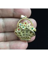 FLOWER Basket with WATCH Gold-Tone PENDANT with Rhinestones - 1 1/2 inches - $30.00