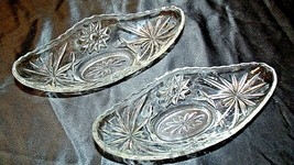 Heavy Etched Cut Glass Banana Bowls (PAIR) AA20-CD0061 Vintage