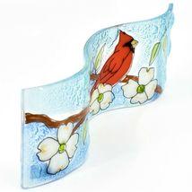 Fused Art Glass Cardinal Flower Dogwood Wavy Decor Sun Catcher Handmade Ecuador image 5