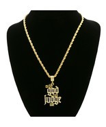 "14k Gold Plated Cz   Only God Can Judge Me   Hip Hop Pendant 24"" Rope Chain - $10.88"
