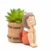 Youfui Pure Girl Flowerpot Resin Succulent Planter Desk Mini Plant Pot O... - $9.96