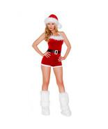 Roma Santa's North Pole Brat Red Velvet Faux Fur Hooded Romper Costume C185 - $54.99