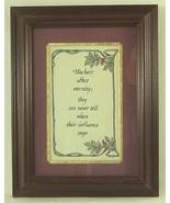 Teachers Affect Eternity Framed Calligraphy Art Illustrated Leaves & Ber... - $12.59