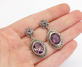 925 Sterling Silver - Vintage Amethyst & Marcasite Oval Dangle Earrings ... - $29.95