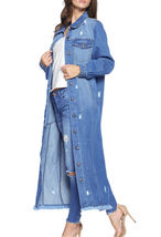 Women's Oversize Long Button Up Distressed Cotton Denim Classic  Jean Jacket image 7