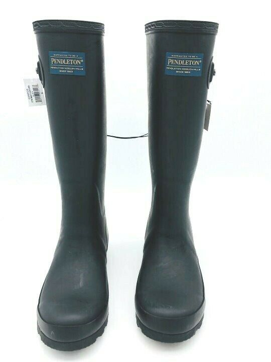 Women's Pendleton Woolen Mills Classic Tall Black Rubber Boots 9 NWOB