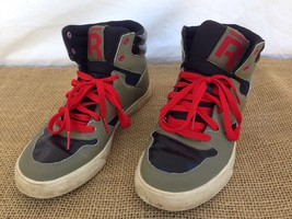 Reebok Mens sz 5.5 Green High Top Red Lace Basketball Court Shoes - $17.81