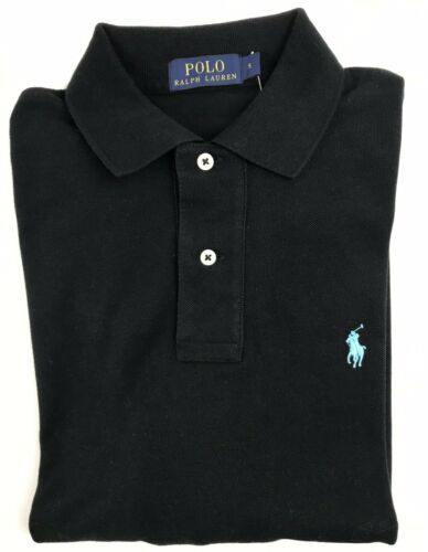 Ralph Lauren Mens Black Long Sleeve Polo Shirt Classic Fit Size Small