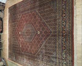 10 x 13 Brick Red Black New Indian Bijar Red Jaipur Wool Handmade Rug image 3