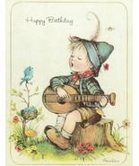 Vintage Birthday Card Boy Plays Guitar Annaliese Unused With Envelope - $9.89