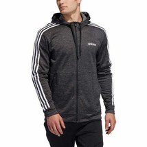 Adidas Mens Hoodie Black Full-Zip Moisture Wicking Stretch 3-Stripes Logo - $48.99