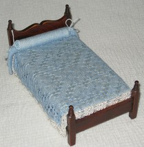 1:12 TWIN Single BED for the bedroom with Original HANDWOVEN Blue Lace -... - £11.75 GBP