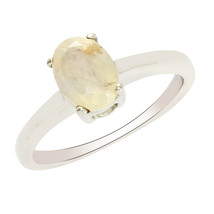Oval Cut Yellow Citrine Gemstone 925 Sterling Silver Women Stacking Ring - $15.02