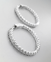 "EXQUISITE 18kt White Gold Plated Outside Inside CZ Crystals 1"" Hoop Earrings S - $36.99"