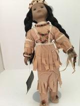 "House Of Lloyd Porcelain Native American Indian Maiden Doll 16"" Buckskin... - $59.95"