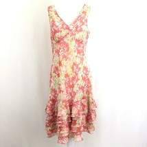 Ann Taylor LOFT Women's Sleeveless Knee Length Ruffled Dress 8 Orange Fl... - $39.59