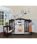 Blue Gray Orange Dinosaur 13pc Crib Bedding Set Baby Nursery Quilt Diape... - $148.40