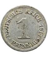 1917 G 1 Pfennig Germany 1 Pfennig Wilhelm II type 1 large shield (MO1479-) - $7.00