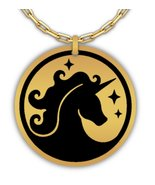 Unicorn Laser Engraved Round Pendant Necklace - Stainless Steel or 18K G... - $29.69