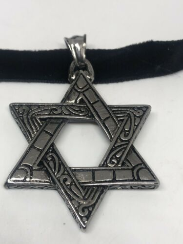 Vintage Deco Star Of David Pendant Choker Necklace Stainless Steel image 4