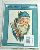 Blue Santa Claus Cross Stitch Kit Christmas Holiday Vermillion Stitchery... - $16.44