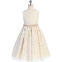 Champagne Sleeveless V-Back Full Lace with Pearl and Tulle Waist Trim Gi... - $44.00