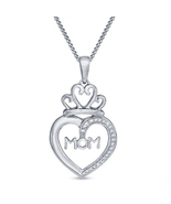 14k White Gold Plated 925 Silver Round Cut CZ Heart Shape MOM Pendant Wi... - $54.23