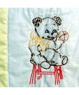 Baby Quilt Teddy Bears Handmade Vintage Embroidered Yellow Blanket 47x38 - $29.99