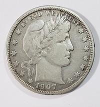 1907D Liberty Barber Head Half Dollar 50¢ Silver Coin Lot E 270