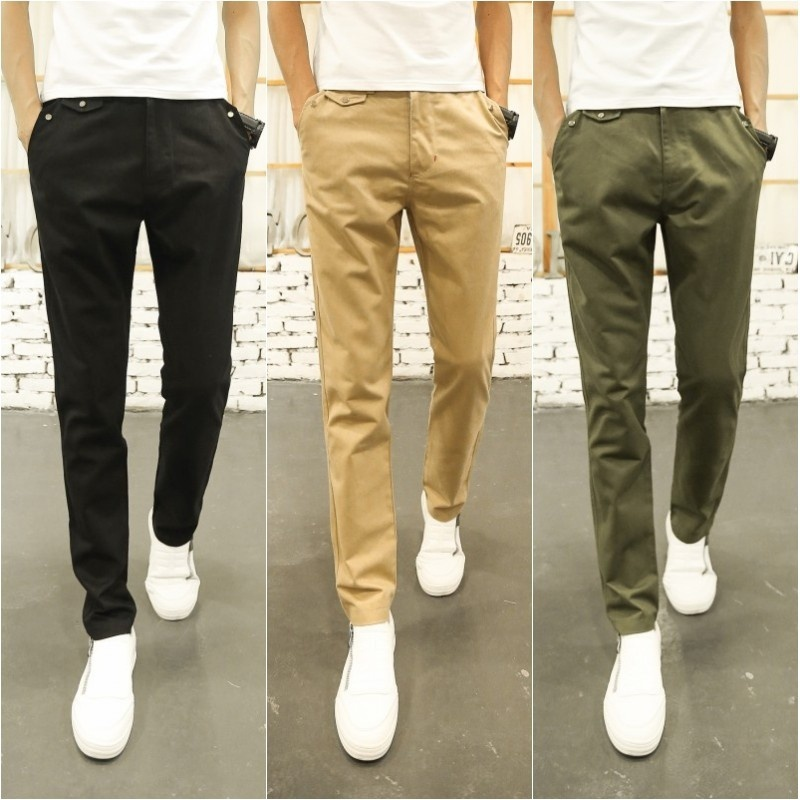 Men Casual Loose Straight Pants Solid Color Trousers for Men