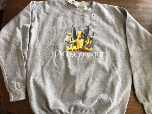 FAO Schwarz Collectible Sweatshirt Gray Crew Pullover Unisex Large Rare NWT