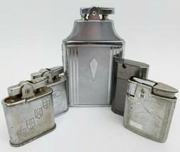 Vintage Ronson Lighter Lot of 4 and 1 Cigarette Case Art Deco Engraved S... - $123.74