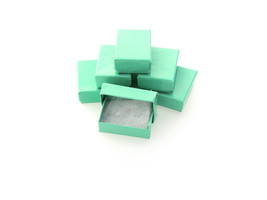 50 pack Glossy Teal Cotton Filled Jewelry Presentation Gift Display Boxe... - $11.45