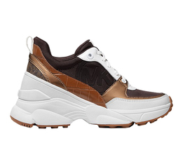 Michael Kors Women's Mickey Trainer Tech Canvas Casual Chocolate Sneaker Shoes image 3