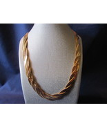 Vintage Avon Gold Toned Three Chain Woven Necklace - 1980s - $10.99