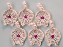 Piggy Butt Coasters, Set of 6, Cotton, Piggy Pink - $35.62 CAD