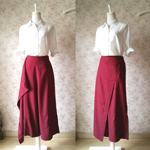 Women Wide Leg Linen Cotton Pants Long Wrap Pants Trousers Casual Pants Burgundy