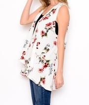 Ivory Floral Vest, Lightweight Layering Vest, Floral Layering Vest, Floral Vest image 2