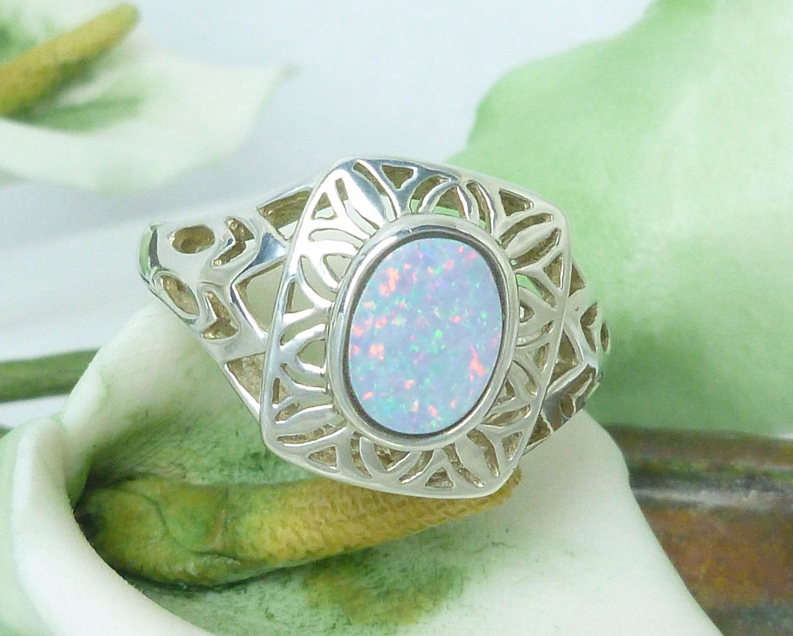 Sterling Opal Doublet Filigree Ring Size 7